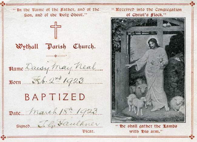 Daisy's baptism certificate