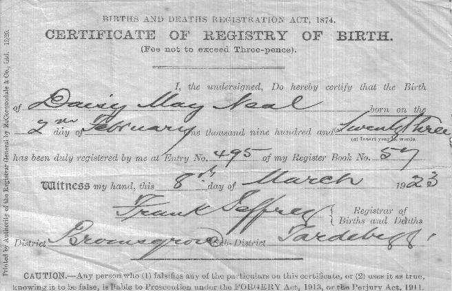 Daisy's birth certificate