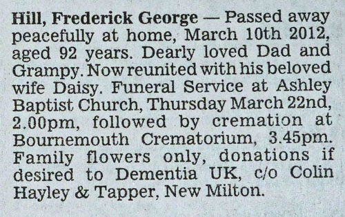Fred Death Notice