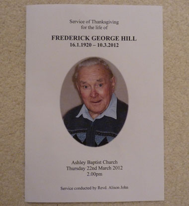 Fred Funeral Order of Service